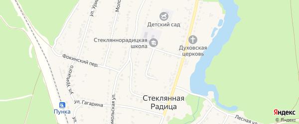 Школьный переулок на карте деревни Стеклянной Радицы с номерами домов