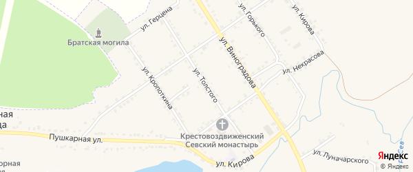 Улица Толстого на карте Севска с номерами домов