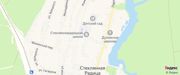 Полевой переулок на карте деревни Стеклянной Радицы с номерами домов