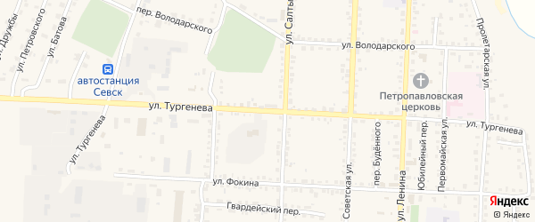 Улица Тургенева на карте Севска с номерами домов