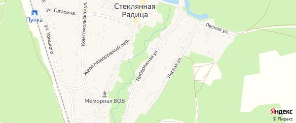 Набережная улица на карте деревни Стеклянной Радицы с номерами домов