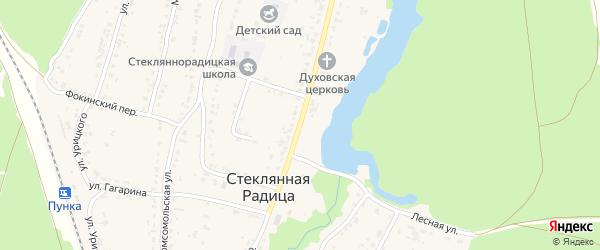 Партизанская улица на карте деревни Стеклянной Радицы с номерами домов