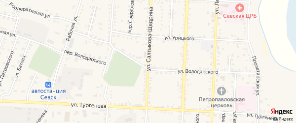 Улица Салтыкова-Щедрина на карте Севска с номерами домов