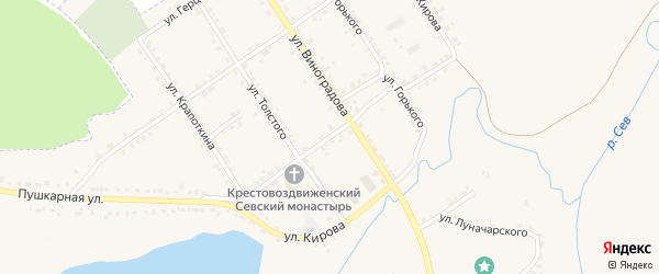 Улица Некрасова на карте Севска с номерами домов
