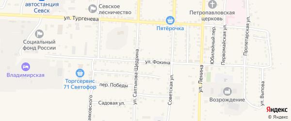 Улица Фокина на карте Севска с номерами домов