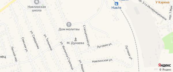 Станционная улица на карте поселка Навли с номерами домов
