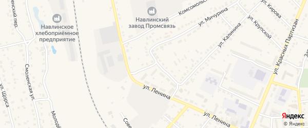 Переулок 1-й Калинина на карте поселка Навли с номерами домов