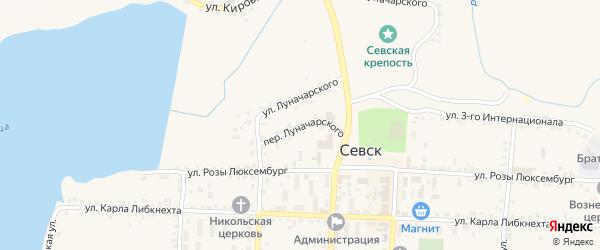 Переулок Луначарского на карте Севска с номерами домов