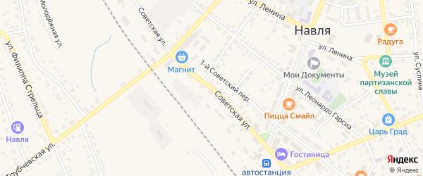 Советская улица на карте поселка Навли с номерами домов