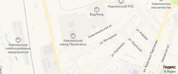 Комсомольская улица на карте поселка Навли с номерами домов