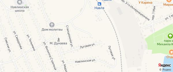 Железнодорожный переулок на карте поселка Навли с номерами домов