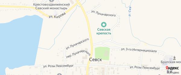 Улица Луначарского на карте Севска с номерами домов