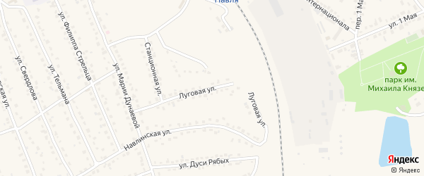 Луговая улица на карте поселка Навли с номерами домов