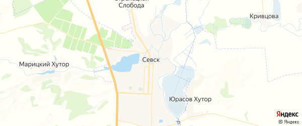 Карта Севска с районами, улицами и номерами домов: Севск на карте России