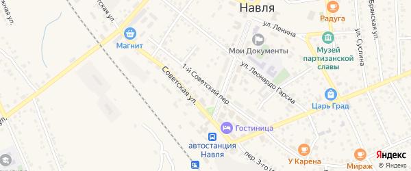 1-й Советский переулок на карте поселка Навли с номерами домов