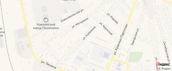 Улица Калинина на карте поселка Навли с номерами домов