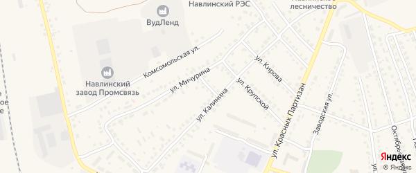 Переулок 2-й Калинина на карте поселка Навли с номерами домов