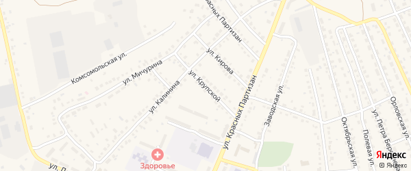 Улица Крупской на карте поселка Навли с номерами домов