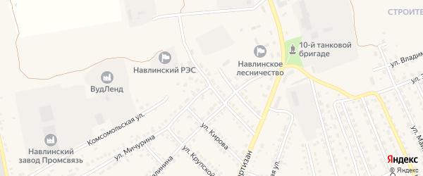 Переулок 2-й Красных Партизан на карте поселка Навли с номерами домов