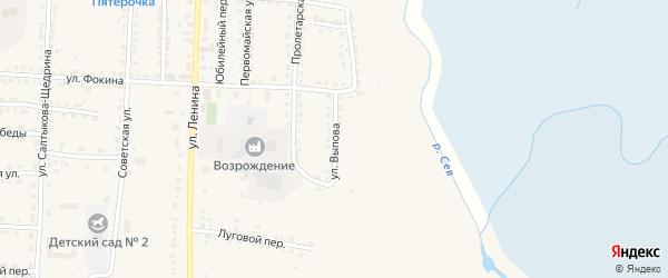Улица Выпова на карте Севска с номерами домов