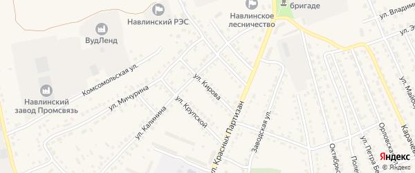 Улица Кирова на карте поселка Навли с номерами домов