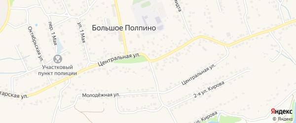 Центральная улица на карте поселка Большое Полпино с номерами домов