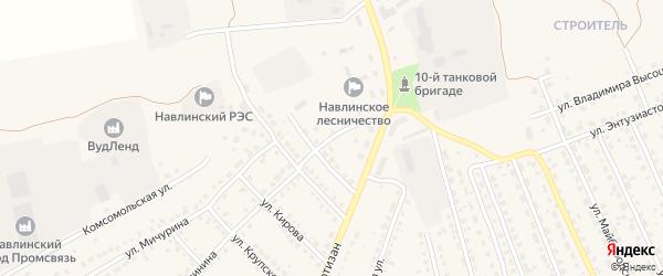 Переулок 3-й Красных Партизан на карте поселка Навли с номерами домов