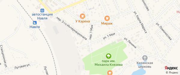 Переулок 1 Мая на карте поселка Навли с номерами домов
