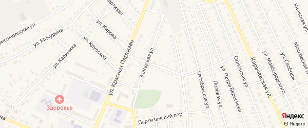 Переулок 1-й Красных Партизан на карте поселка Навли с номерами домов