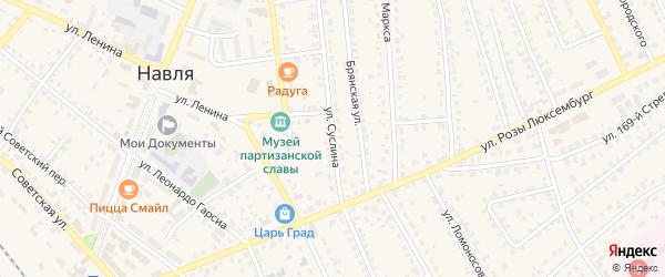 Улица Суслина на карте поселка Навли с номерами домов