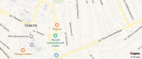 Брянская улица на карте поселка Навли с номерами домов