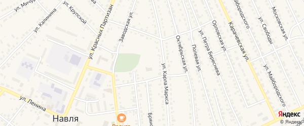 Советской Армии 2-й переулок на карте поселка Навли с номерами домов