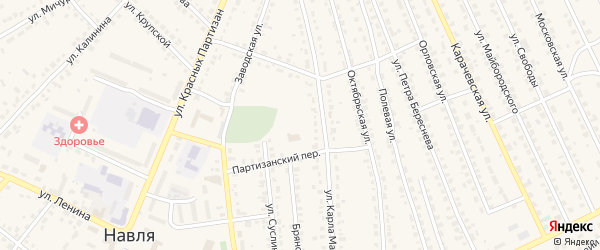 Улица 3 Интернационала на карте поселка Навли с номерами домов