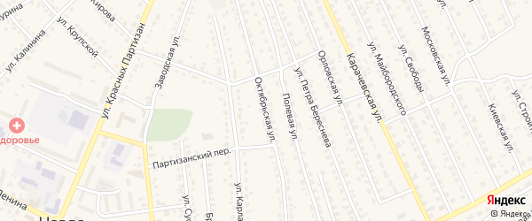 Октябрьская улица на карте поселка Навли с номерами домов