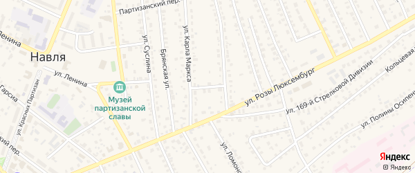 Октябрьский переулок на карте поселка Навли с номерами домов