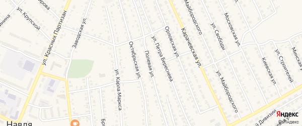 Полевая улица на карте поселка Навли с номерами домов
