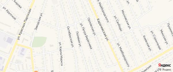 Улица Петра Береснева на карте поселка Навли с номерами домов
