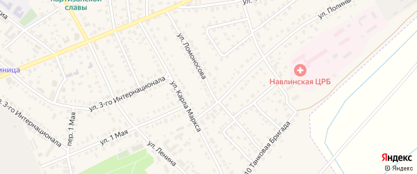 Улица Ломоносова на карте поселка Навли с номерами домов