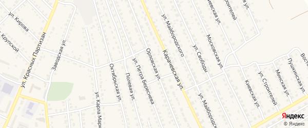 Орловская улица на карте поселка Навли с номерами домов