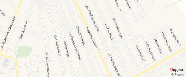 Карачевская улица на карте поселка Навли с номерами домов