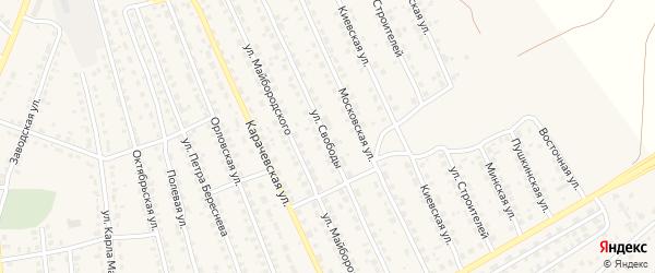 Улица Свободы на карте поселка Навли с номерами домов