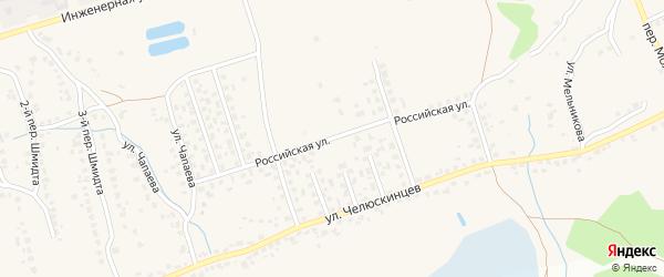 Российская улица на карте поселка Большое Полпино с номерами домов