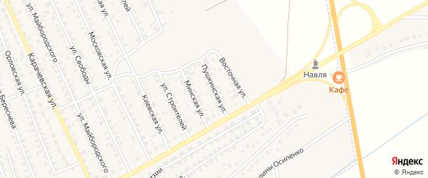 Пушкинская улица на карте поселка Навли с номерами домов