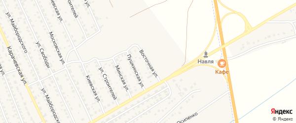 Восточная улица на карте поселка Навли с номерами домов