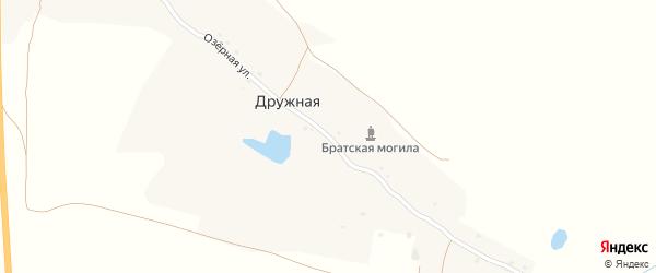 Озерная улица на карте Дружной деревни с номерами домов