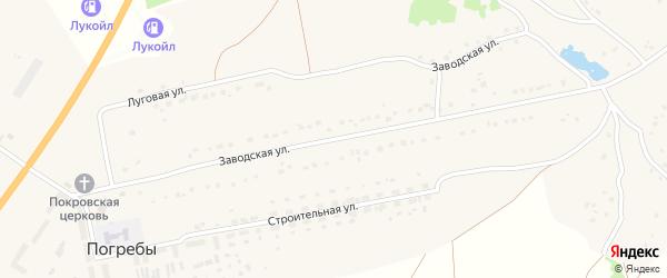 Заводская улица на карте деревни Погребы с номерами домов