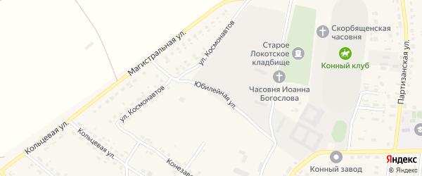 Юбилейная улица на карте поселка Локтя с номерами домов