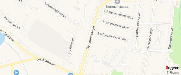 Пушкинская улица на карте поселка Локтя с номерами домов