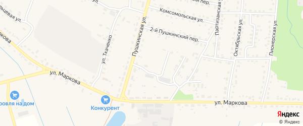 Тенистая улица на карте поселка Локтя с номерами домов