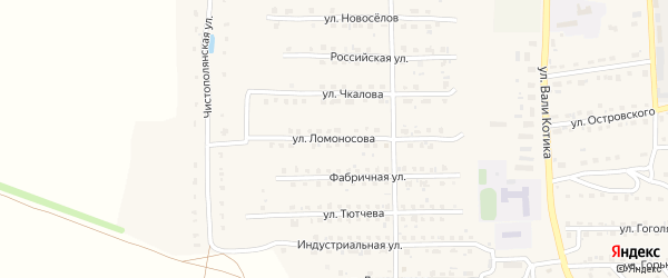 Улица Ломоносова на карте поселка Локтя с номерами домов